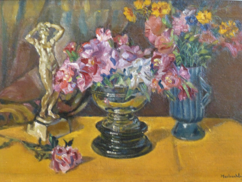 Flowers with Statue