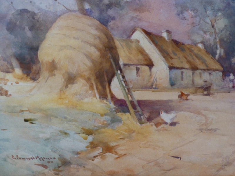 Haystack at the Farmyard with Chickens