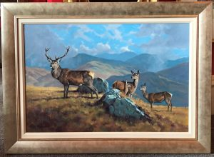 Peter Munro - Stag and hinds in Highland Landscape