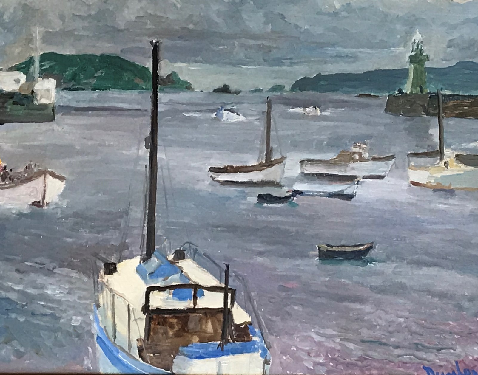 Ronald Ossory Dunlop St Peters Port - Guernsey, Harbour Entrance and the islands of Herm and Jethou